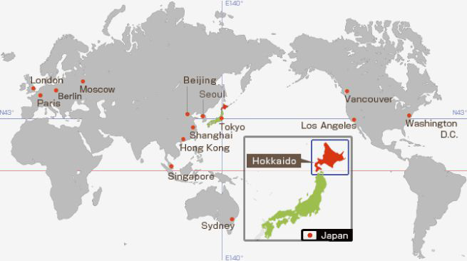 Hokkaido World Map.Powder Snow Hokkaido